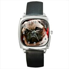 Cute Pug Round & Square Leather Strap Watch - Puppy Dog