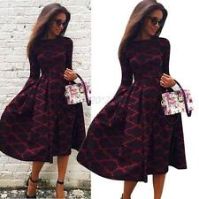 NEW Women Long Sleeve Puff Plaids Long Dress Reiss Bodycon Maxi Party Long Gown