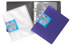 A5 Slim Ring Binder Book + 10 Plastic Punched Pockets Quality Folder, NEW