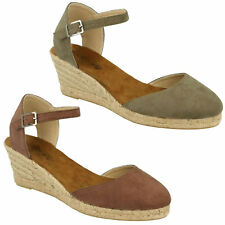 F2255 LADIES SPOT ON BUCKLE ANKLE STRAP CLOSED TOE WEDGE HEEL SANDALS SHOES