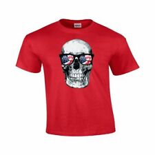 American Flag Sunglasses Skull Men's Patriotic Skull USA Gildan T-Shirts #90
