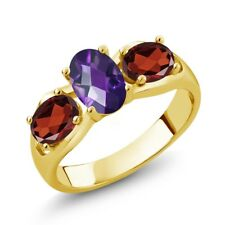 1.75 Ct Oval Checkerboard Amethyst and Garnet 18K Yellow Gold Plated Silver Ring