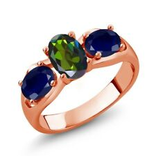 1.90 Ct Mystic Topaz Blue Sapphire 18K Rose Gold Plated Silver Ring