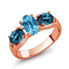 1.95 Ct Oval Swiss Blue Topaz London Blue Topaz 18K Rose Gold Plated Silver Ring