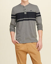 Abercrombie & Fitch - Hollister Striped L/S Henley Tee, L or XL, Grey/Navy, NWT