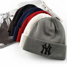 New York Baseball Beanie Wool Blend Unisex One Size Fits Most