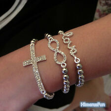 Hot Fashion Crystal Rhinestone Cross Love Infinity Stretch Beaded Bracelet Gift