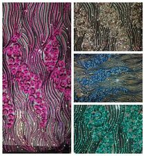 SEQUINS MESH LACE FABRIC 52'' WIDE SOLD BY THE YARD SHINY FASHION DRESS GOWN