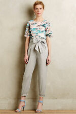 Anthropologie Bowtied Paperbag Crops Sz 10, Cropped Light Gray Pants, Cartonnier
