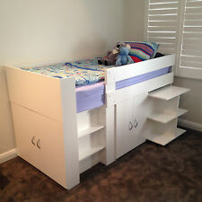 Spacesaver single cabin loft bunk bed 2 Cupboards, & Mobile Desk Aussie made!