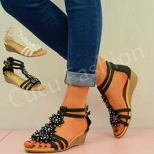 NEW WOMENS FLOWER ANKLE SANDALS LADIES LOW WEDGE HEEL DIAMANTE SUMMER SHOES SIZE