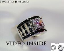 White/Black Diamond Ring 2.85 Carat Engagement & Wedding Engagement Ring Silver