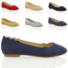 WOMENS FLAT DOLLY BALLET LADIES SLIP ON FAUX SUEDE BALLERINA CASUAL PUMPS SHOES