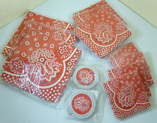 Vintage 1950's Red Bandana Kerchief Pattern Paper Party Napkins & Coasters