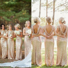 Long Mermaid Sequined Backless Formal Wedding Bridesmaid Dress Evening Dress