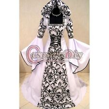Custom Made White and Black Medieval Victorian Renaissance Gothic Wedding Dress