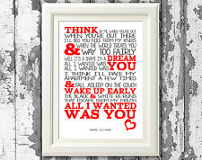Song Lyrics Paramore All I Wanted Wall Art Typography Poster Print Design