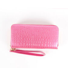 New Simple Double Zipper Womens High-Capacity Synthetic Leather Wallet Purse Bag