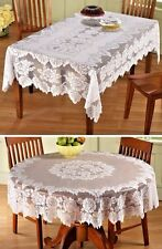 White Floral Lace Tablecloth Polyester Rectangle 2 Sizes Dining Table NEW X-3