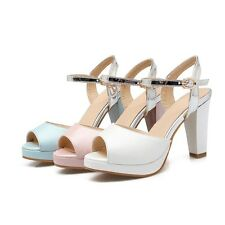 Ladies stylish buckle open toe dress shoes chunky high heels platform pumps size