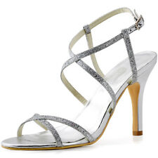 HP1520 Silver High Heel Sandals Sparkling Glitter PU Evening Party Shoes US 4-11