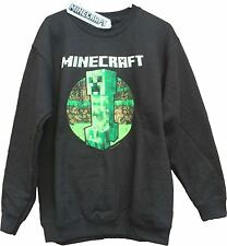 Official MINECRAFT CREEPER RETRO Black Sweater Jumper Mine Craft!