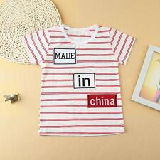 Boys Baby Toddlers Kids T-Shirt Short Sleeves Striped Tops Tee Blouse NEW G6S2