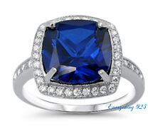 Sterling Silver 925 CUSHION CUT BLUE SAPPHIRE CLEAR CZ ENGAGEMENT RING SIZE 5-10