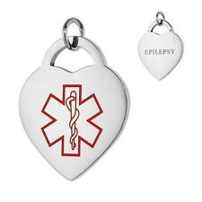 EPILEPSY Stainless Steel Medical Alert Heart Pendant/Charm, Free Bead Ball Chain