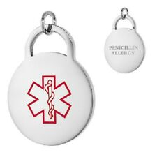 PENICILLIN ALLERGY Stainless Steel Medical Round Pendant, Free Bead Ball Chain