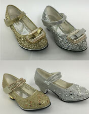 GIRLS KIDS GOLD VELCRO SILVER BEAD DIAMANTE PROM PARTY BRIDESMAID WEDDING SHOES