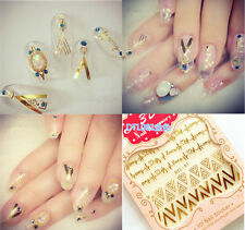 Manicure Decoration Mix Tips 3D Gold Nail Art Stickers Decal Stamping DIY