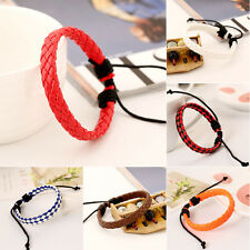 Cool Mens Womens Rope Braided Knitted Charm Wrap Leather Bracelet Wristband Punk