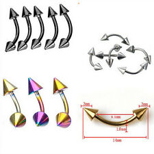 1X Stainless Steel Spike Curved Ear Stud Eyebrow Ring Body Piercing Jewelry