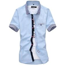 Fashion Mens Slim Short Sleeve Casual Shirts Button Down Formal Dress Shirt Tops