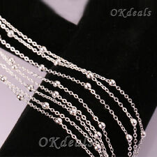 "Fashion Silver Plated Beads Ball Simple Chain Necklace Jewelry 16-30"" Nice Party"