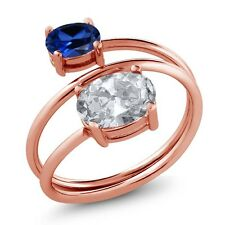 2.30 Ct White Topaz Blue Simulated Sapphire 18K Rose Gold Plated Silver Ring