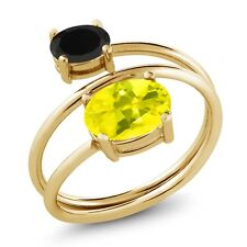 2.08 Ct Oval Canary Mystic Topaz Black Onyx 18K Yellow Gold Plated Silver Ring
