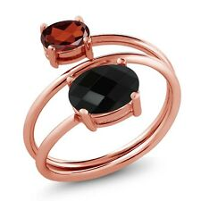 2.12 Ct Oval Checkerboard Black Onyx Garnet 18K Rose Gold Plated Silver Ring