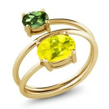 2.30 Ct Canary Mystic Topaz Green Tourmaline 18K Yellow Gold Plated Silver Ring