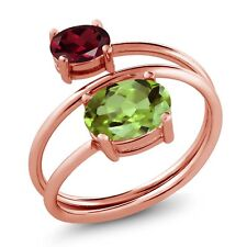 2.33 Ct Oval Green Peridot Rhodolite Garnet 18K Rose Gold Plated Silver Ring