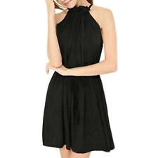 Women Self Tie Sleeveless Ruffle Neckline Dress w String