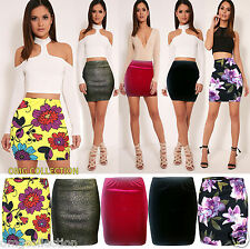 Womens New Ladies Bodycon Fitted FLORAL VELVET VELOUR Stretch Mini Pencil Skirt