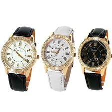 Women''s Luxury Bling Gold Crystal Leather Strap Quartz Wrist Watch New Stylish