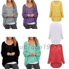 Round Neck Batwing Dolman Sleeve Women's Oversized Knit Top Knitted T-shirt Tee