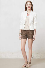 Anthropologie Cropped Field Jacket Sz 10P, Ivory Cotton Linen Blazer, Elevenses