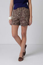 Anthropologie Doodle Shorts 0 & 4, Brown Linen Cotton Abstract Print, Coquille