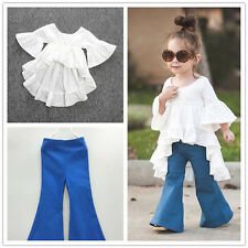 2pcs Toddler Baby Girl Outfits T-shirt Dress+Denim Flared pants Clothes Sets lot