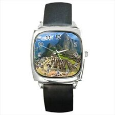 Machu Picchu Inca Peru Round & Square Leather Strap Watch