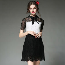 Women Sexy Bowknot Collar Lace Splicing Casual Short Sleeve Party Cocktail Dress